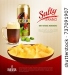 salty snacks composition with...   Shutterstock .eps vector #737091907