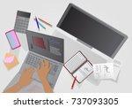 business idea. man at work.... | Shutterstock . vector #737093305