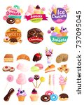 isolated trendy sweets stickers ... | Shutterstock .eps vector #737095045