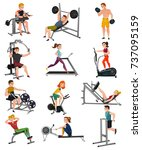 set of exercise equipment with... | Shutterstock .eps vector #737095159