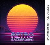 80s retro futurism sci fi... | Shutterstock .eps vector #737096689