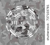 do it yourself grey camo emblem   Shutterstock .eps vector #737103781