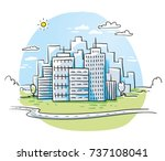 colorful city view with office...   Shutterstock .eps vector #737108041