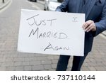 best man or groom holding a... | Shutterstock . vector #737110144
