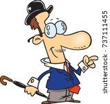 cartoon dapper man in a suit... | Shutterstock .eps vector #737111455