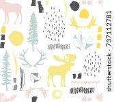 forest seamless pattern. wild... | Shutterstock .eps vector #737112781