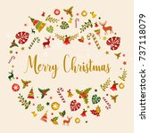 merry christmas illustration... | Shutterstock .eps vector #737118079