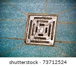Wet drain in the bathroom - stock photo