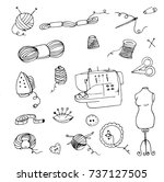doodle knitting  sewing... | Shutterstock .eps vector #737127505
