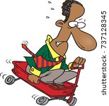 cartoon of a man riding...   Shutterstock .eps vector #737128345