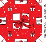 seamless pattern with gifts.... | Shutterstock . vector #737132845
