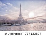 view of the eiffel tower  the...   Shutterstock . vector #737133877