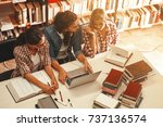 group of female students study... | Shutterstock . vector #737136574
