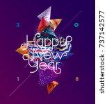 new year 2018. poster design.   Shutterstock .eps vector #737142577