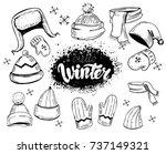 set of hats  scarves  mittens.... | Shutterstock .eps vector #737149321