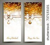 two gold christmas greeting... | Shutterstock .eps vector #737153101