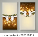 two elegant christmas greeting... | Shutterstock .eps vector #737153119