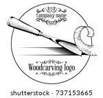 woodcarving logotype... | Shutterstock .eps vector #737153665