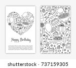 card templates with hand drawn... | Shutterstock .eps vector #737159305