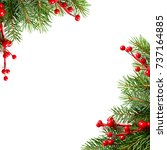 christmas background with red... | Shutterstock . vector #737164885