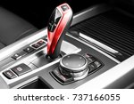 red automatic gear stick of a...   Shutterstock . vector #737166055