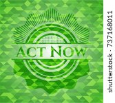 act now green emblem with... | Shutterstock .eps vector #737168011