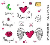 set of abstract icons  stickers.... | Shutterstock . vector #737169781