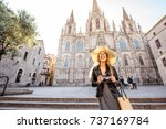 young woman tourist standing in ... | Shutterstock . vector #737169784