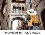 young woman tourist looking on...   Shutterstock . vector #737170621
