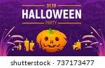 vector halloween party banner... | Shutterstock .eps vector #737173477