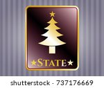 golden badge with christmas... | Shutterstock .eps vector #737176669