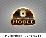 gold badge or emblem with... | Shutterstock .eps vector #737176855