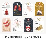 christmas gift tags | Shutterstock .eps vector #737178061
