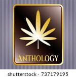 gold badge with weed leaf icon ... | Shutterstock .eps vector #737179195