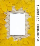 notebook with leaves mock up....   Shutterstock . vector #737180941
