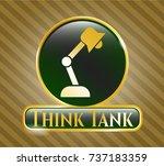 gold badge or emblem with desk ... | Shutterstock .eps vector #737183359