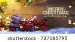 christmas snowman with... | Shutterstock . vector #737185795