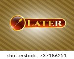 gold badge with sperm icon and ... | Shutterstock .eps vector #737186251