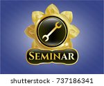 gold badge or emblem with... | Shutterstock .eps vector #737186341