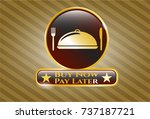 gold badge with special food... | Shutterstock .eps vector #737187721