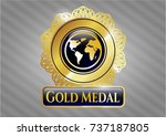shiny badge with earth icon... | Shutterstock .eps vector #737187805