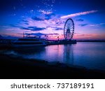 purple sunset by the harbor.... | Shutterstock . vector #737189191