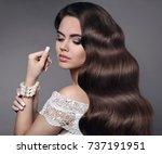 beautiful hair. brunette girl...   Shutterstock . vector #737191951