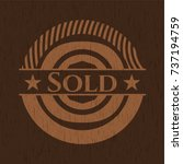 sold badge with wood background | Shutterstock .eps vector #737194759