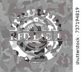 red label on grey camo pattern | Shutterstock .eps vector #737194819