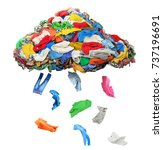 clothes fall out of a clothing... | Shutterstock . vector #737196691