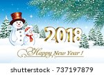2018 christmas card with a... | Shutterstock .eps vector #737197879