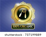 gold badge or emblem with hand ... | Shutterstock .eps vector #737199889