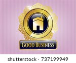 gold badge or emblem with... | Shutterstock .eps vector #737199949