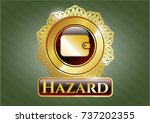 golden badge with wallet icon... | Shutterstock .eps vector #737202355